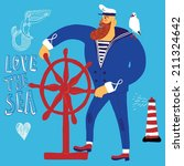 the mighty cartoon sailor with... | Shutterstock .eps vector #211324642
