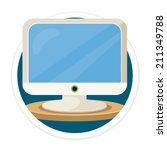 vector computer flat round icon