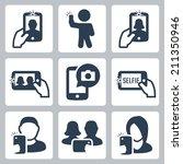 selfie related vector icons set   Shutterstock .eps vector #211350946
