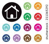 vector home buttons. basic web...   Shutterstock .eps vector #211365292