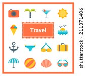 flat travel icons set. perfect... | Shutterstock .eps vector #211371406