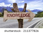 Постер, плакат: Knowledge wooden sign with
