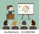 business woman giving a... | Shutterstock .eps vector #211382386