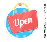 vector open sign flat round icon