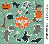 cute halloween set with cartoon ... | Shutterstock .eps vector #211403572