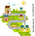 landscape with houses  school... | Shutterstock .eps vector #211405675