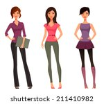 Cute Cartoon Girls In Various...