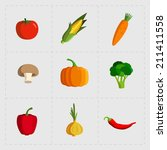 colorful vegetable icon set on... | Shutterstock .eps vector #211411558