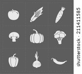 white vegetable icon set on... | Shutterstock .eps vector #211411585