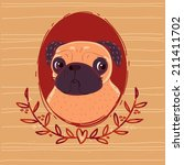 portrait of a sad pug | Shutterstock . vector #211411702