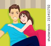 sweet young couple hugging... | Shutterstock .eps vector #211411732