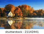 Autumn Landscape With Lake And...