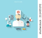 flat health care and medical... | Shutterstock .eps vector #211435192