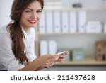 businesswoman sending message... | Shutterstock . vector #211437628