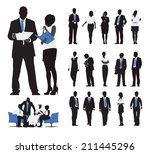 silhouettes of business people... | Shutterstock .eps vector #211445296