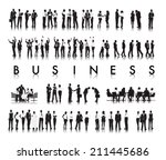 silhouettes of successful... | Shutterstock .eps vector #211445686