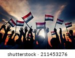 silhouettes of people waving... | Shutterstock . vector #211453276