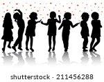 children silhouettes | Shutterstock .eps vector #211456288