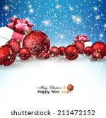 beautiful christmas red balls...   Shutterstock .eps vector #211472152