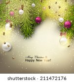 christmas background with balls.... | Shutterstock .eps vector #211472176