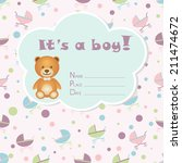 baby boy arrival card. baby... | Shutterstock .eps vector #211474672