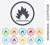 fire flame sign icon. heat... | Shutterstock .eps vector #211475218