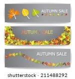 autumn sale banners | Shutterstock .eps vector #211488292