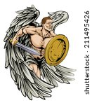 An illustration of a warrior angel character or sports mascot holding a sword and shield