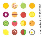 colorful round fruits ... | Shutterstock .eps vector #211507735