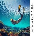 underwater shot of the young... | Shutterstock . vector #211511806