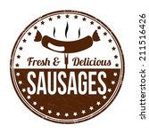 sausages grunge rubber stamp on ... | Shutterstock .eps vector #211516426