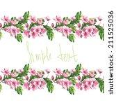 watercolor handmade horizontal... | Shutterstock . vector #211525036