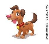 Funny Cartoon Dog  Isolated...