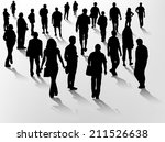 crowd silhouettes | Shutterstock .eps vector #211526638
