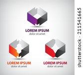 vector set of abstract origami... | Shutterstock .eps vector #211541665