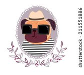 pug hipster in a hat  and... | Shutterstock . vector #211551886