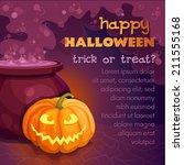 vector halloween card with... | Shutterstock .eps vector #211555168