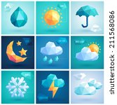 weather set   geometric icons. | Shutterstock .eps vector #211568086
