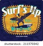 vintage surf print   Shutterstock .eps vector #211570342