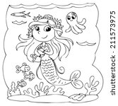 black and white cute mermaid... | Shutterstock .eps vector #211573975
