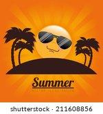 summer design over orange... | Shutterstock .eps vector #211608856