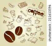coffee break menu doodles...   Shutterstock .eps vector #211613596