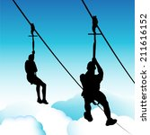 an image of zip line men. | Shutterstock . vector #211616152
