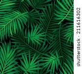 seamless tropical jungle floral ... | Shutterstock .eps vector #211616302