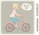 girl on a bicycle. | Shutterstock .eps vector #211620115