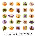 halloween flat design icons.... | Shutterstock .eps vector #211628815