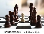 chess board with chess pieces... | Shutterstock . vector #211629118