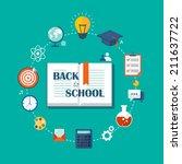 back to school flat... | Shutterstock .eps vector #211637722
