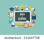 back to school flat... | Shutterstock .eps vector #211637728