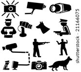 security silhouettes guard dogs, cctv camera, and armed guard illustration - stock vector